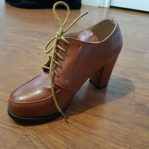Brown lace up high heeled dress booties 3